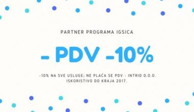 -10% na usluge, bez PDV-a